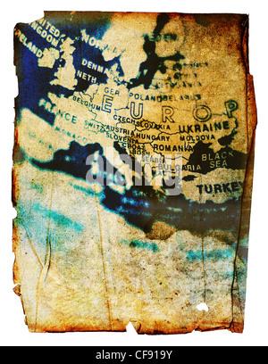 Europa mappa grunge Foto Stock