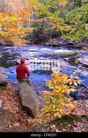 Canada Ontario, Algonquin Provincial Park, un giovane uomo si siede su una roccia per ammirare i colori dell'autunno lungo egli Oxtongue fiume.