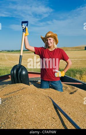 Una ragazza con una pala e si affaccia dal retro di un carrello granella caricato con frumento, Tiger colline, Manitoba, Foto Stock