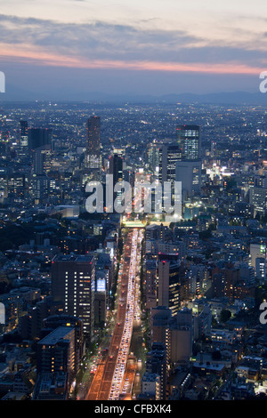 Giappone, Asia, Tokyo, città, Shuto Expressway, Shibuya, tramonto, architettura, grandi edifici, city e il centro Foto Stock