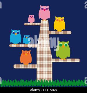 Simpatico cartoon per bambini con struttura ad albero e possiede Foto Stock