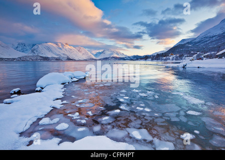 Guardando attraverso il mare ghiacciato di Ullsfjord da Sjursnes, verso il sud delle Alpi Lyngen, al tramonto, Troms, Norvegia, Europa Foto Stock