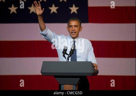 Stati Uniti Il presidente Barack Obama fa un Texas interruzione campagna martedì notte al Music Hall di Austin, Foto Stock