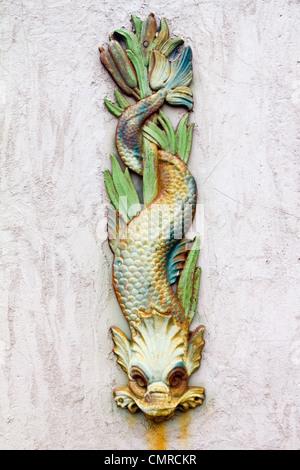 Il simbolo del drago con il vecchio arrugginito Texture Grunge Foto Stock