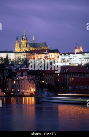 Charles Bridge, Hradschin, Castello, Praga, Repubblica Ceca Foto Stock