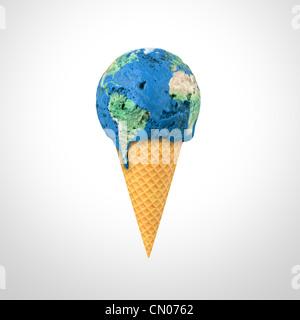 3D render di un cono gelato con la mappa del mondo pattern Foto Stock