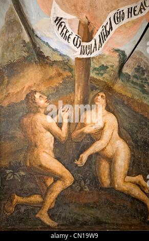 La RUSSIA Uglich chiesa russo-ortodossa di San Dimitrius sul sangue (1630) affresco murale di Adam & Eve Foto Stock