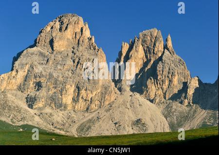 L'Italia, Trentino Alto Adige, provincia autonoma di Bolzano, Dolomiti, nei pressi del Passo Sella e Sassolungo Foto Stock