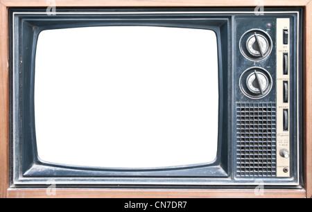 Vecchio grungy vintage TV con tracciato di ritaglio sullo schermo. Foto Stock