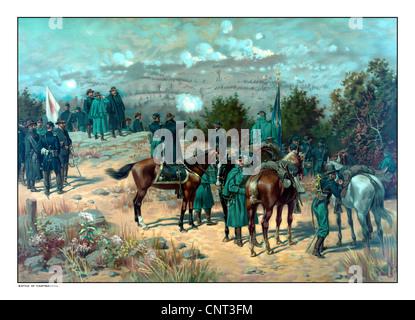Vintage Guerra civile poster della battaglia di cresta missionaria che ha avuto luogo durante la campagna di Chattanooga.