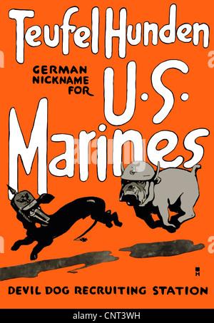 Vintage guerra mondiale un poster di un Marine Corps bulldog inseguendo un Bassotto Tedesco. Foto Stock