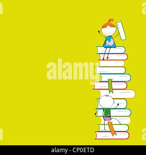 Felici i bambini colorati su molti libri colorati Foto Stock