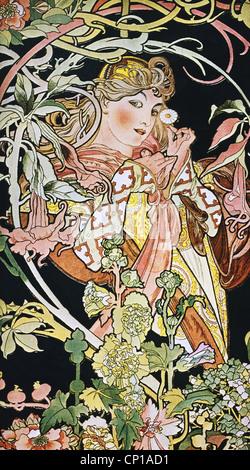 Belle arti, Mucha, Alphonse (1860 - 1939), poster, circa 1900, ornamento, ornamenti, Art Nouveau, Donna con fiori, fiori, piano
