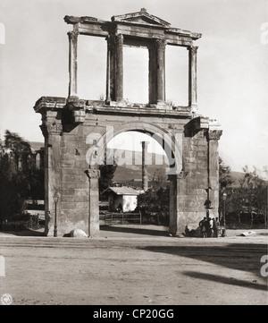 Geografia / viaggi, Grecia, Atene, l'Arco di Adriano, visualizzare tardo XIX secolo, Romana arco trionfale, imperatore Foto Stock