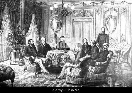 Eventi, guerra franco-prussiana 1870 - 1871, politica, Trattato di Francoforte, 10.5.1871, conferenza dell'Hotel Foto Stock