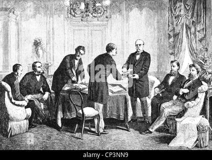 Eventi, guerra franco-prussiana 1870 - 1871, politica, Trattato di Francoforte, 10.5.1871, firma nell'Hotel 'zum Foto Stock