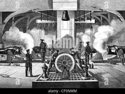 "Eventi, guerra franco-prussiana 1870 - 1871, guerra navale, batteria del tedesco ironglad ""Koenig Wilhelm', incisione Foto Stock"