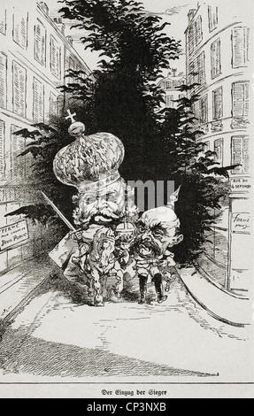 """Eventi, guerra franco-prussiana 1870 - 1871, la politica, la caricatura, """"entrata dei vincitori"""", francese incisione Foto Stock"""