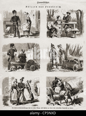 Eventi, guerra franco-prussiana 1870 - 1871, stampa, 'cetches from France', incisione in legno, 1871, diritti-aggiuntivi-clearences-non disponibile Foto Stock