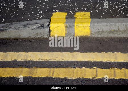 Doppie linee di colore giallo su strada e senza carico cordolo marciapiede iscrizioni in Glasgow Scotland Regno Foto Stock