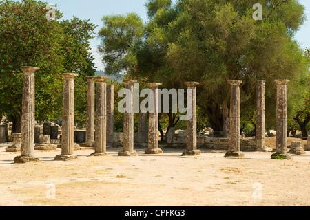 Il Palaestra a Olympia, sito dei giochi olimpici antichi, penisola del Peloponneso, Grecia. Foto Stock