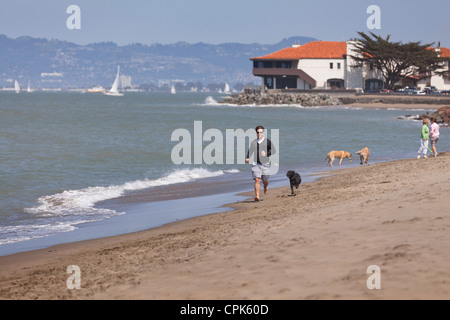 Un uomo che corre sulla spiaggia con un cane Foto Stock