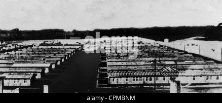 Vista la baracca edifici a Ravensbrueck donna campo di concentramento, 1939/45 (b/w photo)