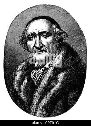 Schadow Johann Gottfried, 20.5.1764 - 27.1.1850, scultore tedesco e artista grafico, ritratto, incisione su legno dopo la verniciatura da Julius Huebner, 1822, artista del diritto d'autore non deve essere cancellata