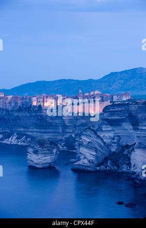 Bonifacio all'alba, Corsica, Francia Foto Stock