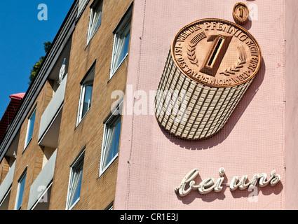 Uno Pfennig, vecchia pubblicità su una parete, Braunschweig, Bassa Sassonia, Germania, Europa Foto Stock