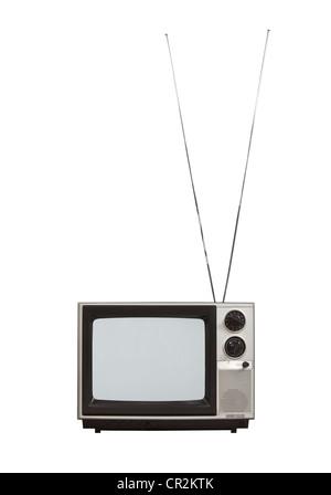 Schermo vuoto portatile televisione vintage con antenne lunghe fino. Isolato su bianco. Foto Stock