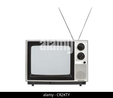 Portable televisione vintage con le antenne verso l'alto. Isolato su bianco. Foto Stock
