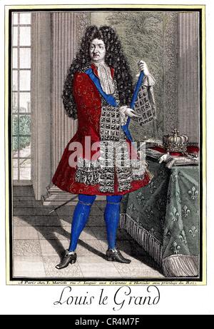 Luigi XIV, 5.9.1638 - 1.9.1715, Re di Francia 1643 - 1715, piena lunghezza, colorato di incisione su rame da Mariette, secolo XVII, artista del diritto d'autore non deve essere cancellata Foto Stock