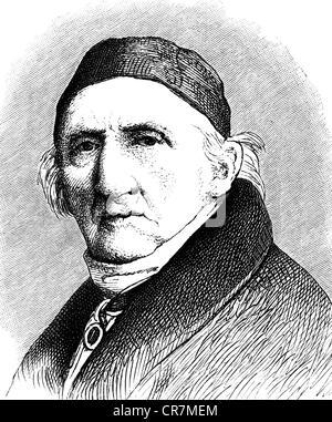 Schadow Johann Gottfried, 20.5.1764 - 27.1.1850, scultore tedesco e artista grafico, ritratto, incisione su legno, Foto Stock