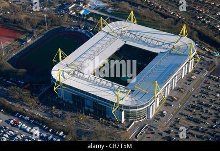 Vista aerea, Signal Iduna Park Stadium, Dortmund, Ruhrgebiet regione Renania settentrionale-Vestfalia, Germania, Foto Stock