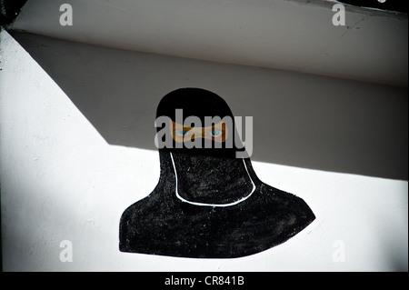 Dettaglio artistico di disegno raffigurante una donna musulmana