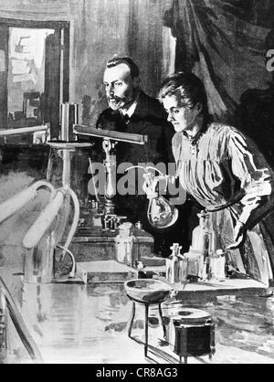 Marie Curie, 7.11.1867 - 4.7.1934, francese chimico e fisico, origine polacca, presso il laboratorio, con il marito Foto Stock