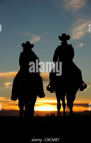 Cowgirl e seduta cowboy a cavallo al tramonto, Saskatchewan, Canada, America del Nord Foto Stock