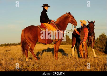 Cowgirl e cowboy con i cavalli nel sole di sera, Saskatchewan, Canada, America del Nord