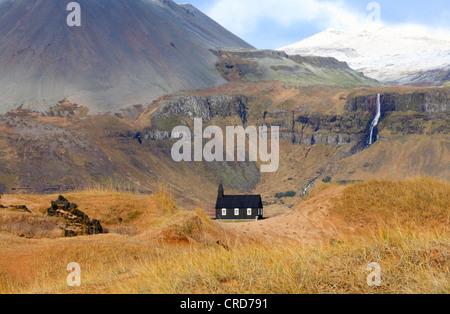 Chiesa di Budir, Snaefellsnes, Islanda, Europa Foto Stock