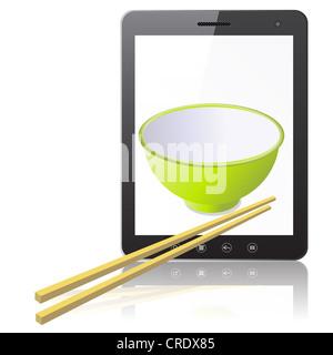 Tablet PC computer con tazza ceramica con bastoni di legno isolato su sfondo bianco. Illustrazione Vettoriale. Foto Stock