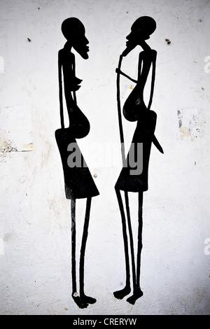 Dettaglio artistico di disegno raffigurante due donne Foto Stock
