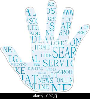 Illustrazione del simbolo della mano, che è composta da testo parole chiave sui social media i temi. Isolato su bianco