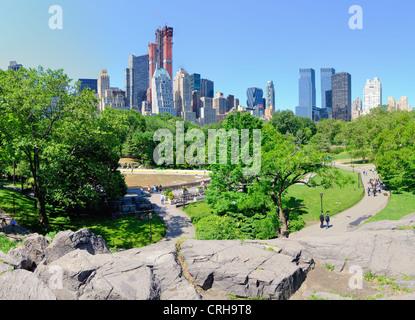 Skyline di Central Park a sud della città di New York Foto Stock