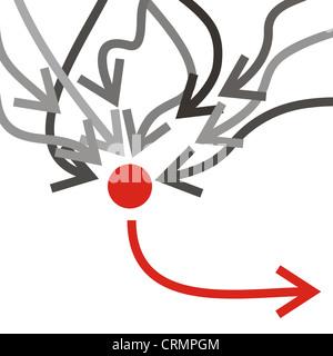 Gruppo di frecce grigie infiltrato una freccia rossa Foto Stock