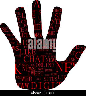 Illustrazione della mano, che è composta da testo parole chiave sui social media i temi. Isolato su bianco