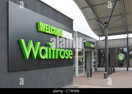 Waitrose segno esterno Welcome Break Services entrata sulla autostrada M1