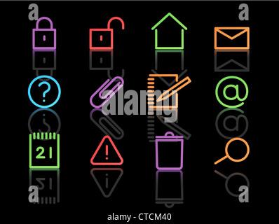 Set di vettore di eleganti neon di icone semplici per le più comuni funzioni del computer