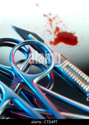 Strumenti chirurgici Foto Stock