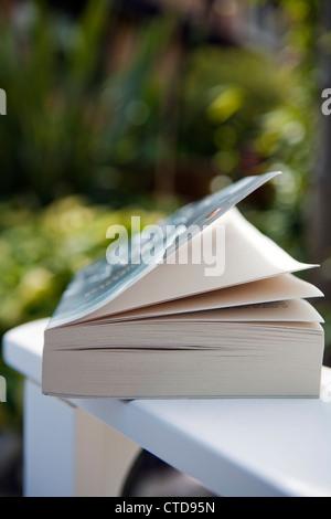 Libro aperto in appoggio sul braccio di una sedia da giardino.Shallow mettere a fuoco l'immagine. Foto Stock